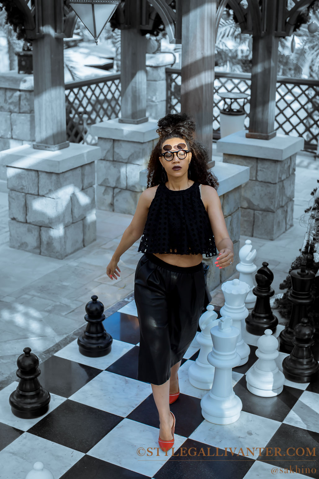 Kings and Queens, black and white outfits, leather culottes, flip sunglasses, top melbourne fashion bloggers 2017, @sakhino - miranda-22